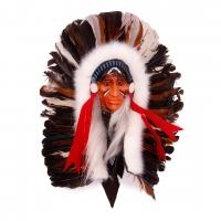 Маска Индеец с перьями 30см Защита дома от Злых духов Индонезия
