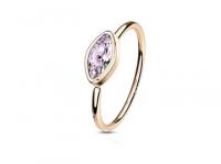 Кольцо раздвижное со стразом маркиза в розовом золоте